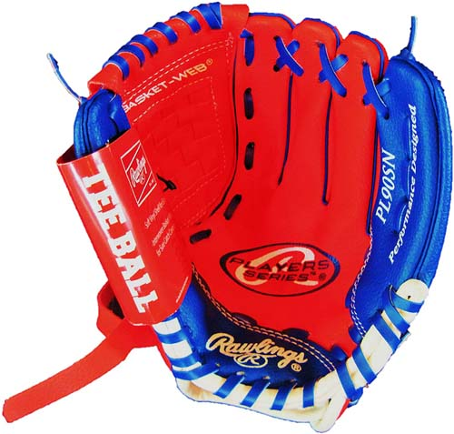 """Rawlings YOUTH GLOVE 9"""" Tee Ball RIGHT HAND THROW Red/Blue (PL90SN)"""