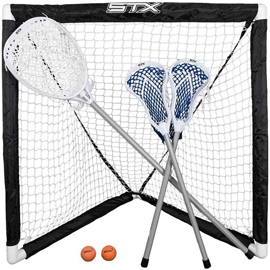 FiddleSTX Three Player Game Set with Two Field Player Sticks One Goalie Stick Mini Goal and Balls